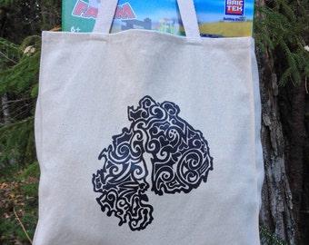 MDI Tribal Tattoo Design Large Over Shoulder Grocery Tote Bag -  Screen Printed Original Design