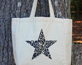 STAR Tribal Tattoo Design Grocery Tote Bag -  Screen Printed Original Design