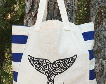 Whale Tail Tribal Tattoo Origins Cotton Tote Bag