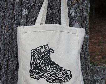 Hiking Boot Tribal Tattoo Design Grocery Tote Bag -  Screen Printed Original Design