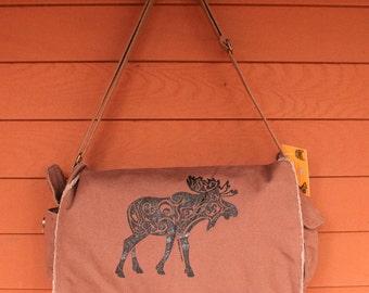 MOOSE Tribal Tattoo Messenger Bag -  Screen Printed Original Design