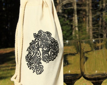 MDI Tribal Tattoo Cotton Canvas Drawstring Wine Bag