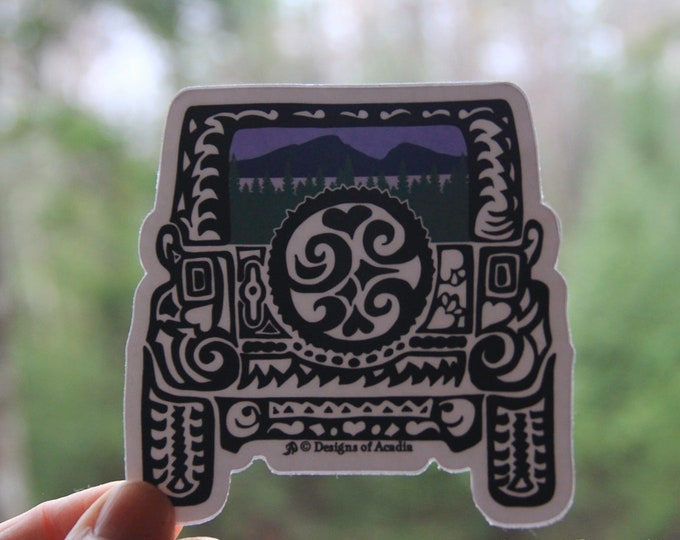 """Featured listing image: Sticker  - JEEP  - """"Mountain Rearview Jeep Tribal Tattoo"""" - Die Cut Vinyl Sticker - 3 1/2"""" x 3 1/2"""""""