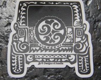 """Sticker  - JEEP  - Rearview Tribal Tattoo"""" - Die Cut Vinyl Sticker - 3 1/2"""" x 3 1/2"""""""
