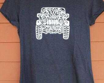 JEEP Tribal Tattoo LADIES Tri-Blend S/S T-Shirt (S-XL) - Black with White imprint