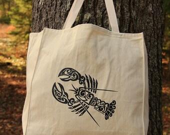 Lobster Tribal Tattoo Design Large Over Shoulder Grocery Tote Bag -  Screen Printed Original Design