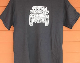 JEEP Tribal Tattoo T-Shirt  - BLACK with WHITE imprint