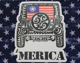 """Sticker  - JEEP  - """"Merica Rearview Jeep Tribal Tattoo"""" - Die Cut Vinyl Sticker - 3 1/2""""W x 4 1/2""""H"""