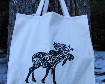 Moose Tribal Tattoo Design Large Over Shoulder Grocery Tote Bag -  Screen Printed Original Design