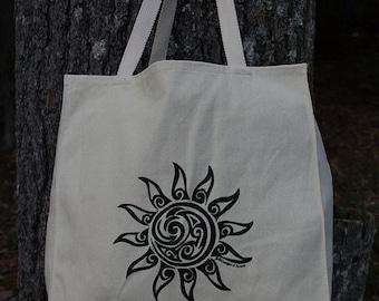 Sun Tribal Tattoo Design - Large Over Shoulder Grocery Tote Bag - Screen Printed Original Artwork