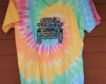 JEEP Tribal Tattoo Pastel Rainbow Tie-Dye LADIES V-Neck T-Shirt (S-XL)