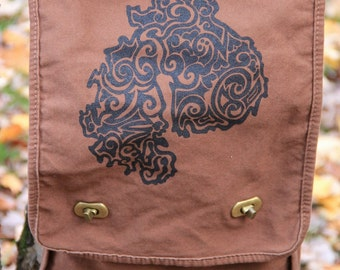 MDI Tribal Tattoo Messenger Field Bag -  Screen Printed Original Design