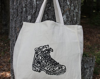 Hiking Boot Tribal Tattoo Design Large Over Shoulder Grocery Tote Bag -  Screen Printed Original Design