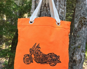 SALE!!!!  Motorcycle Tribal Tattoo Design Bright Colored Allie Tote Bag -  Screen Printed Original Design