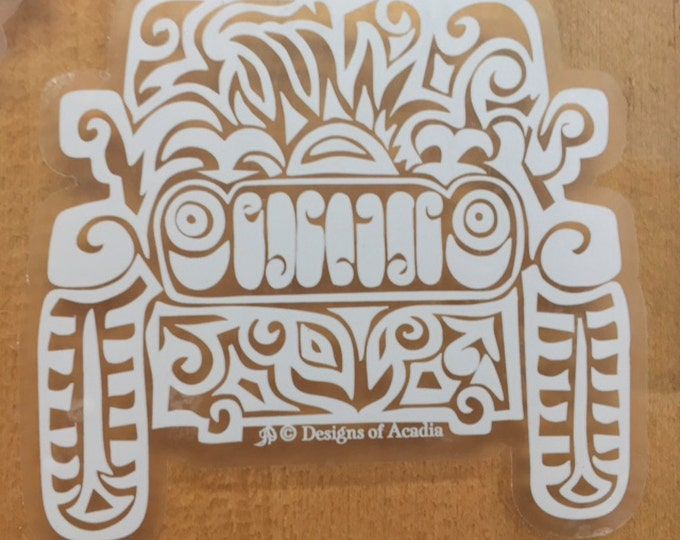 """Featured listing image: Sticker - """"Jeep Tribal Tattoo"""" - WHITE with CLEAR background Vinyl Sticker"""