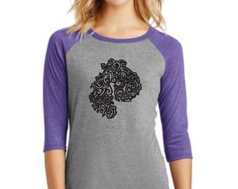 MDI Tribal Tattoo LADIES Tri-Blend Raglan 3/4 Sleeve T-Shirt (S-XXL)