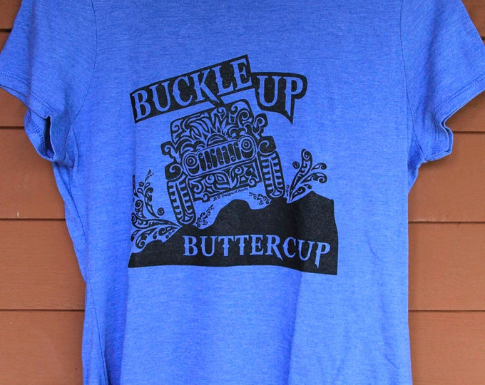 "Featured listing image: JEEP ""Buckle Up Buttercup"" Tribal Tattoo LADIES Tri-Blend S/S T-Shirt (S-XL)"