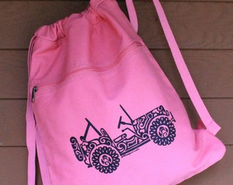 JEEP2 - SIDE VIEW Tribal Tattoo Pigment Dyed Cinch Bag Backpack -  Screen Printed Original Design