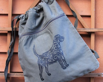 Dog Tribal Tattoo Pigment Dyed Cinch Bag Backpack -  Screen Printed Original Design