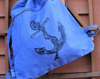 Anchor Tribal Tattoo Pigment Dyed Cinch Bag Backpack -  Screen Printed Original Design