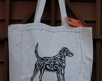 Dog Tribal Tattoo Design Grocery Tote Bag -  Screen Printed Original Design