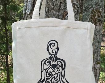 Yoga Pose Tribal Tattoo Design Grocery Tote Bag -  Screen Printed Original Design