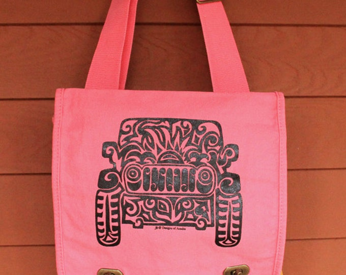 Featured listing image: JEEP Tribal Tattoo Messenger Field Bag -  Screen Printed Original Design