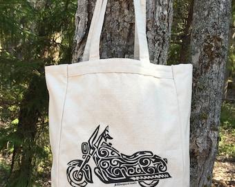 Motorcycle Tribal Tattoo Design Grocery Tote Bag -  Screen Printed Original Design