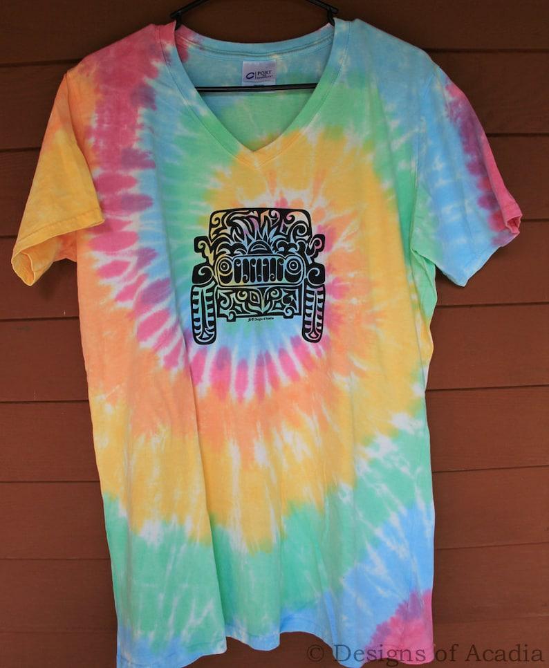 7f5e100eb JEEP Tribal Tattoo Pastel Rainbow Tie-Dye LADIES V-Neck | Etsy