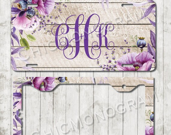 Rustic Violet License Plate Personalized Monogrammed Floral Wood Look Car Tag Accessories Gift Sweet 16 Cute Car Accessories For Women
