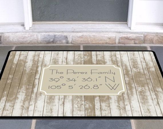 Latitude Longitude Coordinates Rustic Beach Wood Look Custom Doormat Personalized Custom Rug Front Door Mat Housewarming Wedding Gift