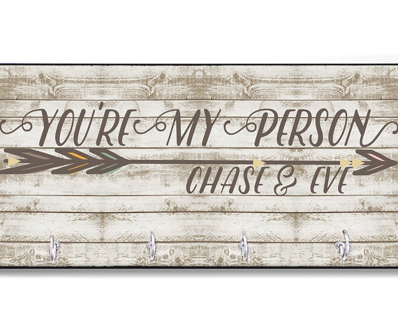 Gift for Boyfriend You're My Person Personalized Key Holder Key Rack Hanger Monogrammed Wall Organizer For Boyfriend For Him
