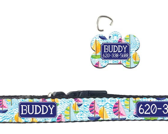 Dog Mom Gift Preppy Dog Collar Nautical Lilly Inspired Personalized Dog Collar Dog Tag Pet ID Tag  Gifts for Pet Lovers Pet Accessories