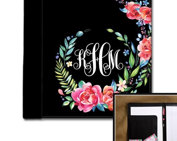 Classy Black Floral Monogrammed Pad Folio Notebook Notepad Portfolio Personalized Custom Monogrammed Gift College Student Graduation Gift