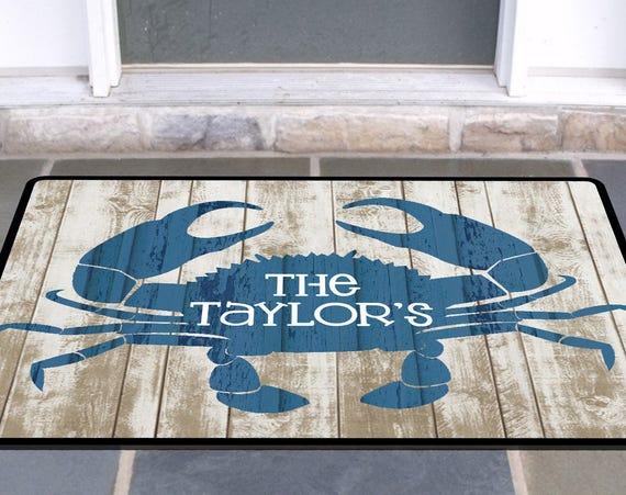 Personalized Rustic Crab Door Mat Beach House Doormat Wedding Gift Ideas Monogrammed Gifts Personalized Custom Rug Monogram Front Door