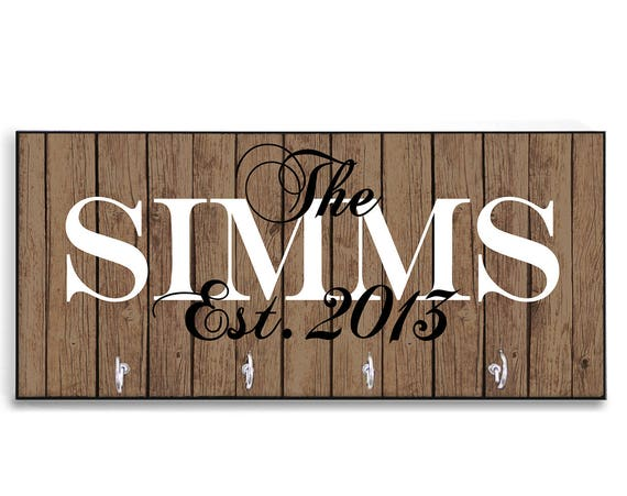 Personalized  Gift Housewarming Gift New Home Gift Wood-Look Key Holder Key Rack Hanger Monogrammed Home Sweet Home Gift