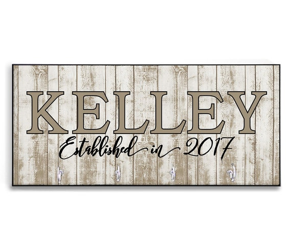 Personalized Wedding Gift New Home Gift Wood-Look Key Holder Key Rack Hanger Monogrammed Wedding Gift Home Sweet Home Wall Organizer
