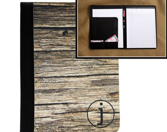 Fathers Day Gifts Rustic Wood Look Padfolio Gifts for Dad Notebook Portfolio Personalized Custom Monogrammed Executive Gift Office Gifts