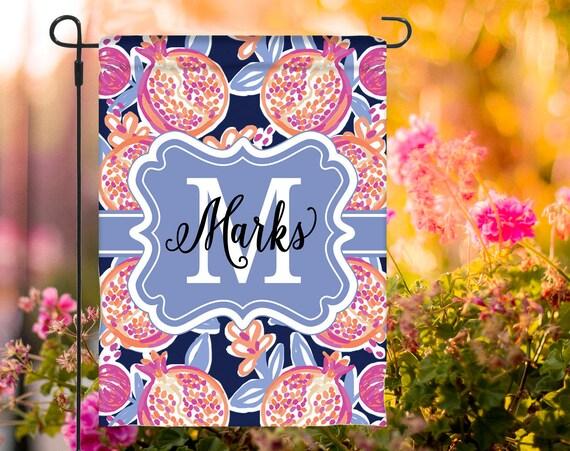 Spring Garden Flag Personalized Spring Flag Monogrammed Outdoor Garden Decor Yard Summer Garden Decor Custom Garden Flag Floral Pattern