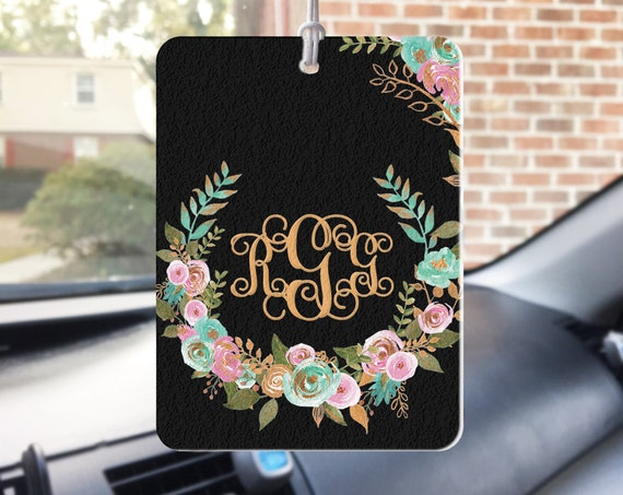 Mint and Gold Floral Air Freshener Car Monogrammed Air Freshner Rearview Mirror Monogram Rearview Mirror Accessories Rear View Mirror Charm