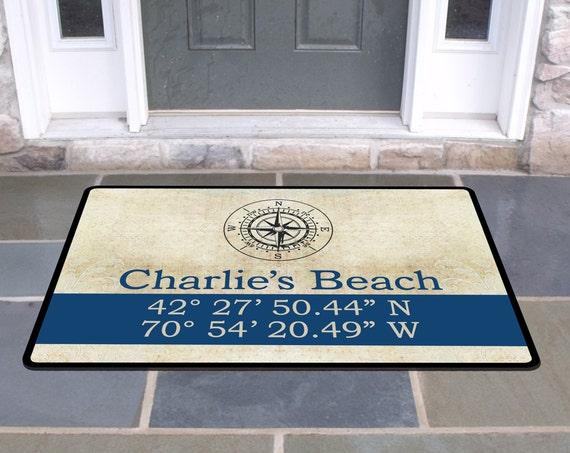 Personalized Housewarming Gift Latitude Longitude Vintage Compass Coordinates Door Mat Monogram Rug Custom Front Doormat Door Mat Nautical