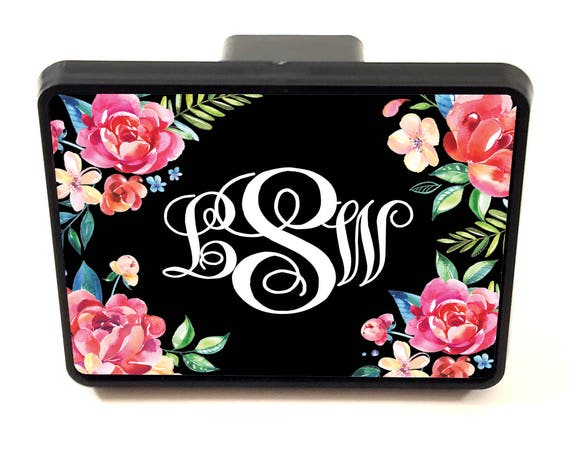 Classy Black Floral Trailer Hitch Cover Personalized Monogrammed Gift Car Accessories Custom Hitch Monogram Hitch Cute Truck Accessories