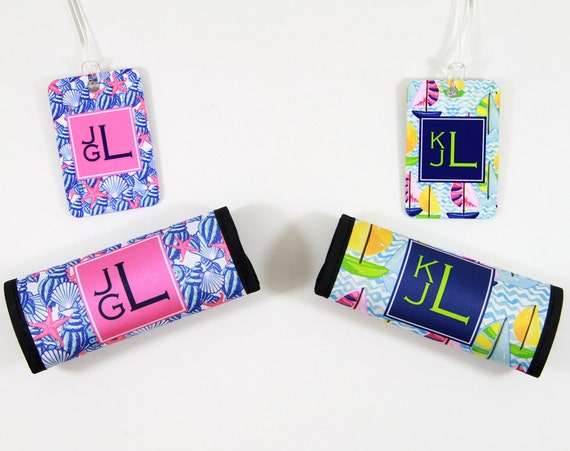 Coordinating Luggage Finder & Luggage Tag, Monogram Lilly Inspired Preppy Bag Tags Floral Pretty Luggage Decor Travel Gifts for Women