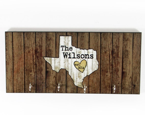 Personalized Home State Texas Housewarming Gift New Home Gift Wood-Look Key Holder Key Rack Hanger Wedding Gift Home Sweet Home Organizer