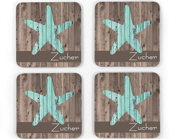 Personalized Rustic Wood Look Starfish Hardboard Coasters Custom Monogram Drink Coasters Monogrammed Gifts Beach House Decor Beach
