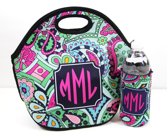 Teacher Gift Monogrammed Lunch Tote & Water Bottle Sleeve Insulated Lunch Bag Personalized Custom Teacher Appreciation Last Day of School