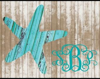 Monogrammed Beach House Wood Look Door Mat Custom Rustic Starfish Doormat  Personalized Beach House Decor Rug Front Door Mat Housewarming