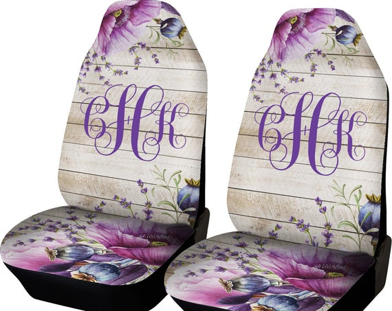 Rustic Violet Car Seat Covers floral wood look And Back Seat Cover Monogram Personalized Seat Covers For Car For Vehicle Seat Cover Set