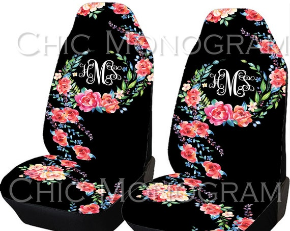 Classy Black Floral Car Seat Covers Set Of Two Front Seat Covers Monogram Personalized Seat Covers For Car For Vehicle