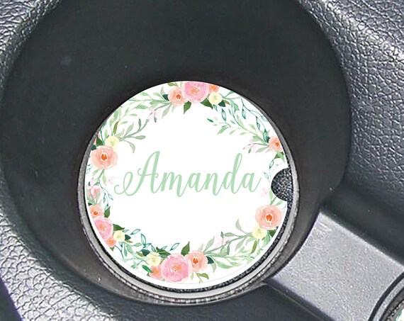 Elegant Blooming Wildflowers Car Coasters Cup Holder Coasters Design Your Own Personalized Sandstone Coasters Car Accessories For Women